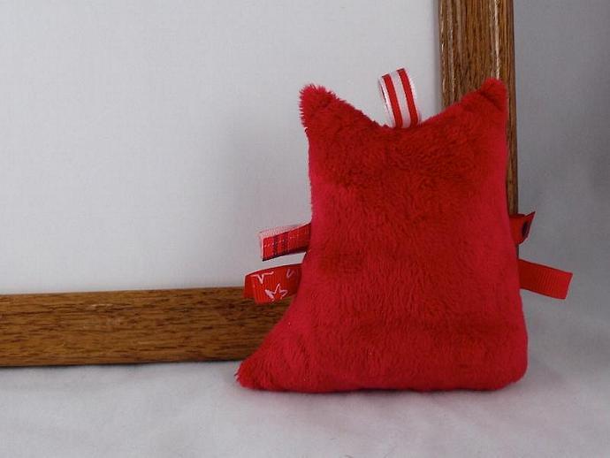Plush Owl Rattle Baby Toy Stuffed Animal Owl Softie Minky Black White Red Polka