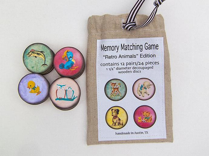 Memory Game Retro Animals Wood Matching Game Wooden Play Set Ready to Ship