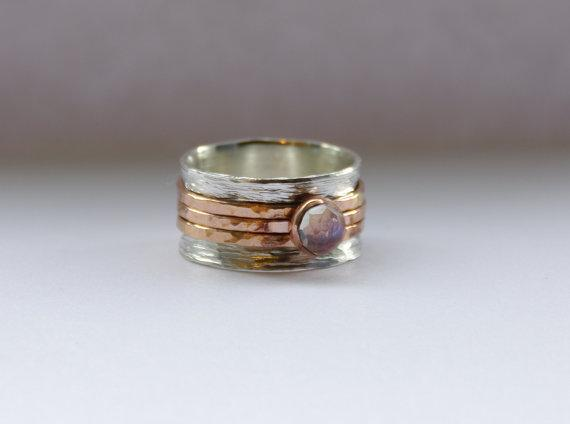 Unique wedding ring - Rose Cut Moonstone ring - Engraved wedding band