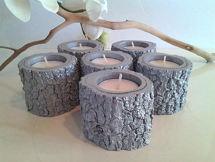 6  Metallic Silver tea light candles -Wood candles -Tree branch candles -