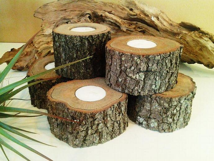 SET OF (6) Oak Tree trunk candleholders - Rustic Wedding -  - Christmas - Home