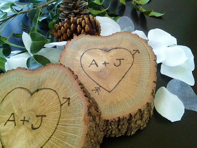 Natural Wood tree Slice with Custom Personalized  Engraving - Weddings -