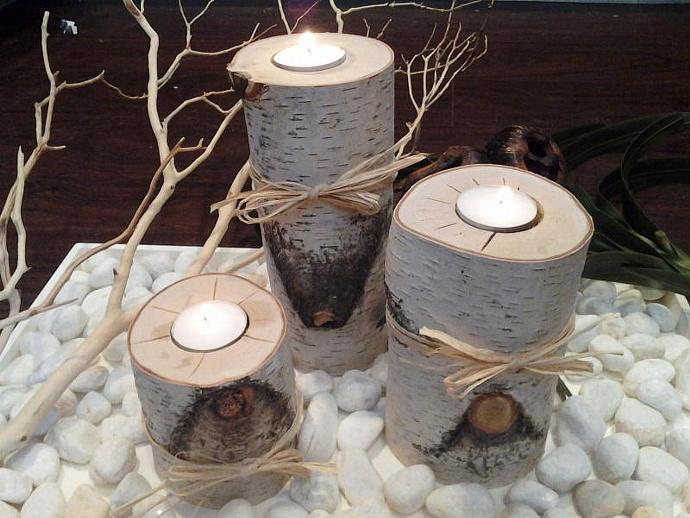 "SET OF 3 - White Natural Birch Candleholders - (3"", 5"", 7"" )  Rustic wedding"