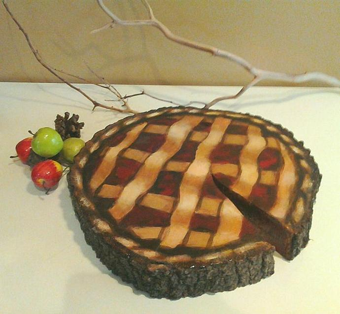 ORIGINAL design -  Custom Oak Tree trunk slice with cherry pie artwork  - Cake