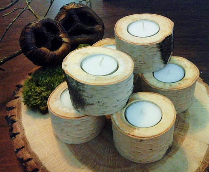 18  White Natural Birch Tea Light Candleholder - Rustic Wedding decor - Home