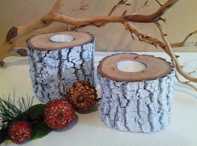 White painted tree branch candleholder set - Tree slices - Wood candles -