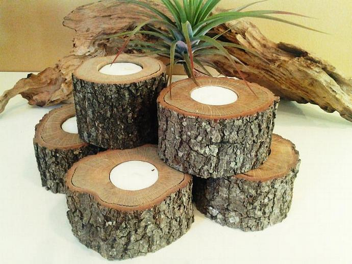 SET OF (24) Oak Tree trunk candleholders - Rustic Wedding -  - Christmas - Home