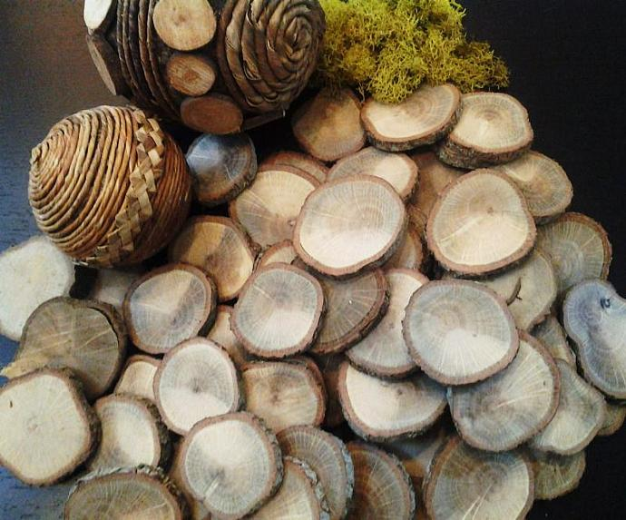 25 pack assortment of Oak Natural Tree slices -  Wood discs - Wood slices - Tree