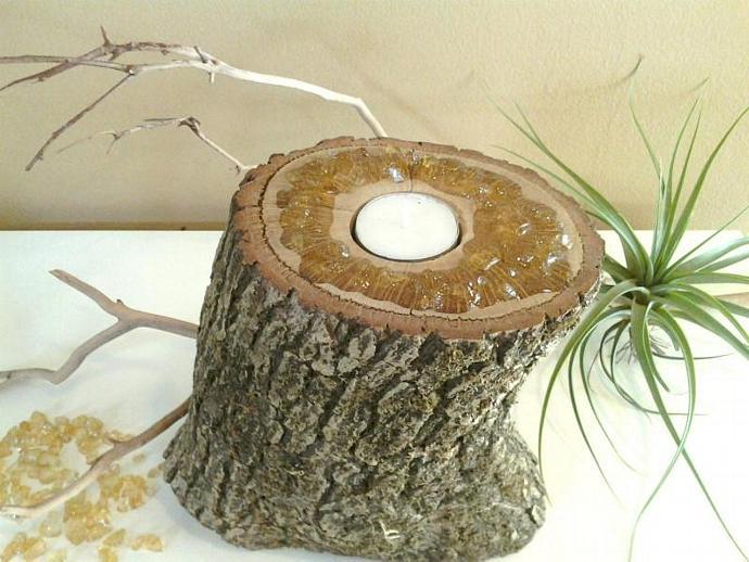 ORIGINAL design - Embelleshed Crystal Custom Art Candleholder - Tree trunk - Tea