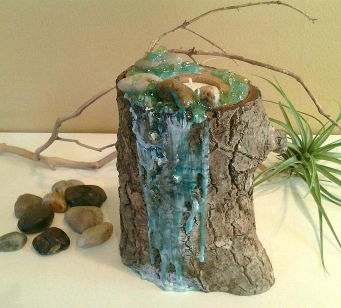 TREASURY ITEM - Original design - River Rock Custom Art Candleholder - Tree