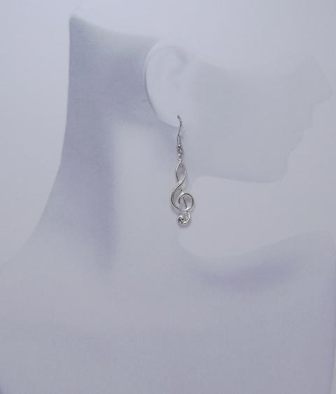 SALE- 75 Percent Off - Treble Cleft Note Earrings - Silvertone
