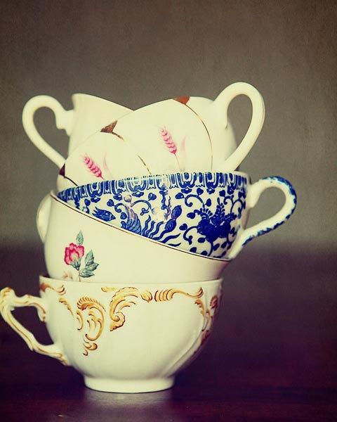 Tea Cup Photograph - gold yellow white green cream purple grey vintage olive