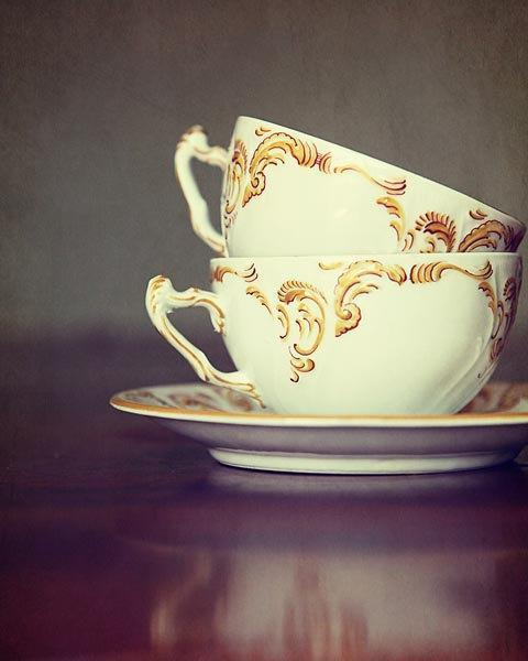 Still Life Photography - Tea Cups Food foodie gold yellow white cream purple