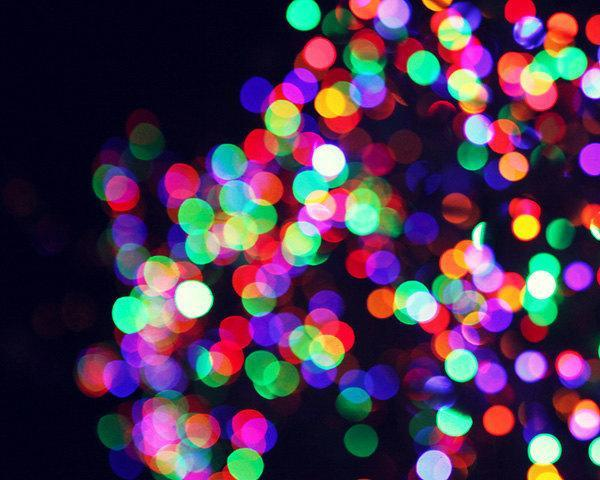 Abstract Bokeh Photograph - color rainbow colorful purple pink glowing art deco
