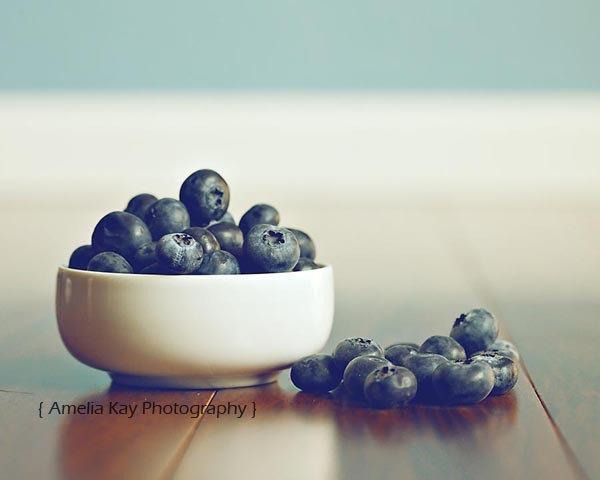 Blueberry Food Photograph - Blueberry Harvest - 8x10 blueberries fresh navy dark