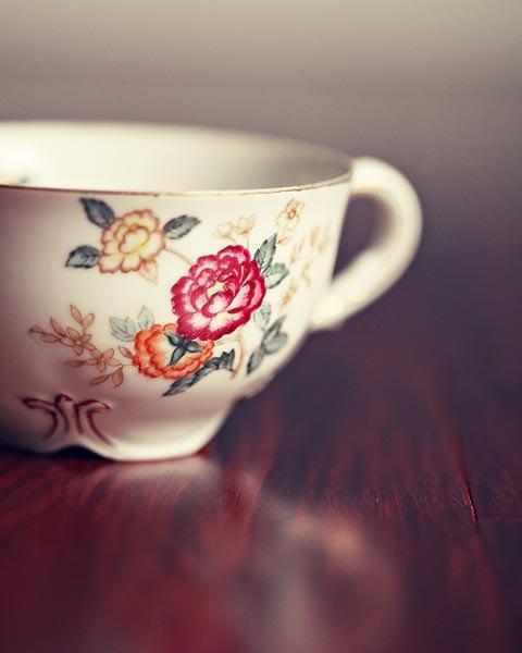 Still Life Kitchen Photograph Print - red white flower antique brown cream