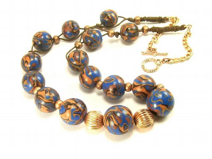 Polymer Clay Boho Necklace in Blue and Copper