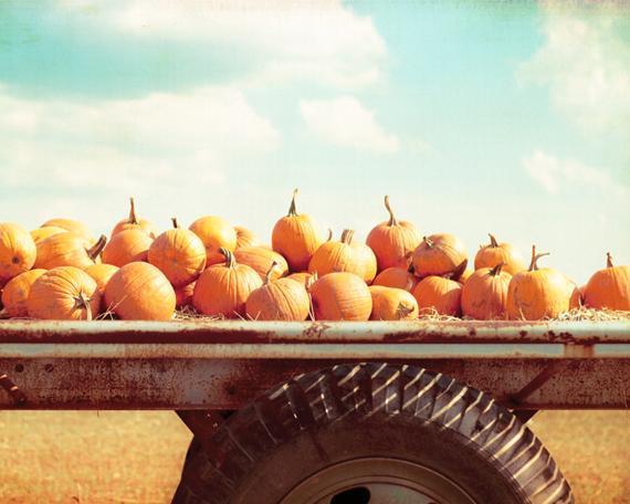 Autumn Photography - 8x10 Fall Print - Orange Pumpkins Wall Photo