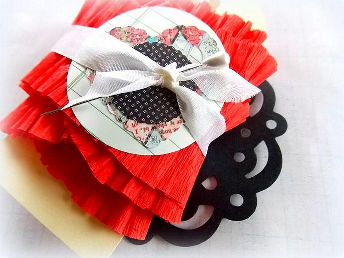 NEW - Sweet Ruffled Vintage Crepe Paper Garland - Strawberry Red