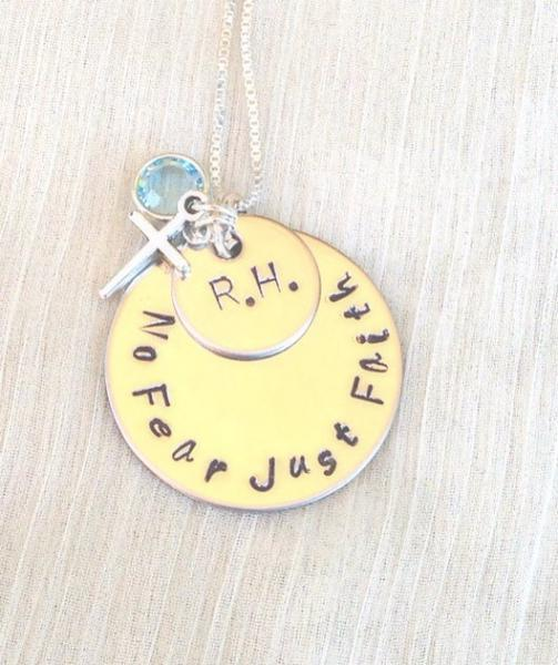hand stamped necklace, cancer necklace, inspirational necklace, fight cancer