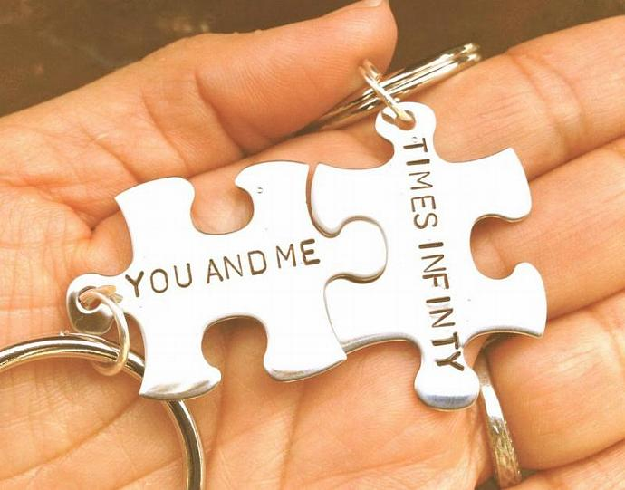 christmas gifts, personalized keychains, puzzle keychains, husband and wife