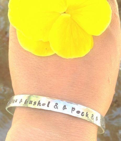 mother daughter, quote bracelet, a bushel and a peck and a hug around the neck,