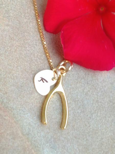 wish bone necklace, gold wish bone, personalized wish bone, bridal necklace,