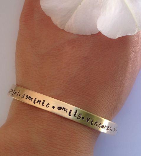 christmas gifts, cuff, personalized cuff bracelet, gold cuff, grandma bracelet,