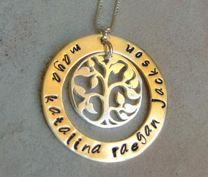 tree of life necklace, personalized for mom, grandma necklace, name necklace,