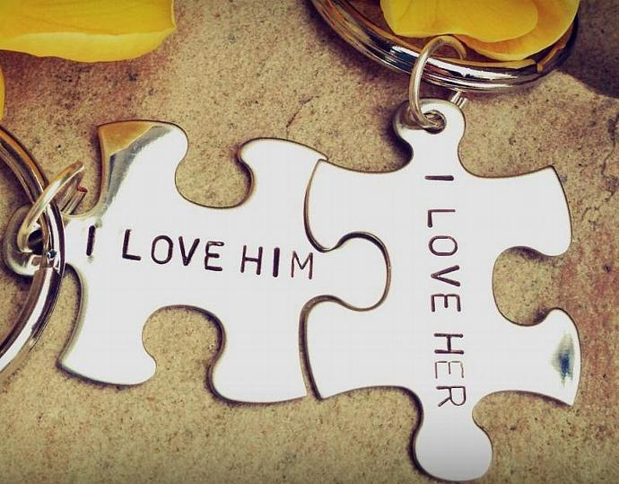 custom key chains, I lover her, I love him,  personalized key chains, puzzle key
