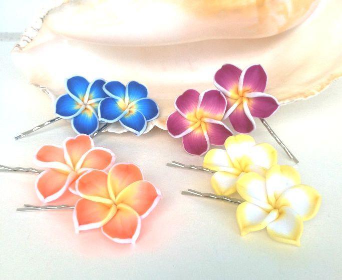 Hawaiian Hair Pins, Plumeria Hair Pins, Bobby Pins, Wedding Hair, flower girl,