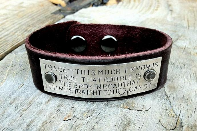 mens bracelet, leather bracelet, gifts for dad, christmas gift for dad, message