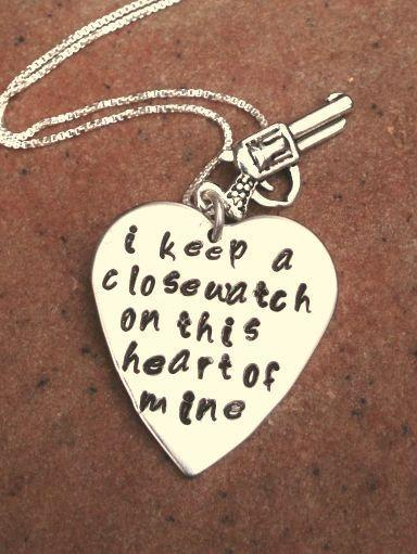 johnny cash necklace, i keep a close watch on this heart of mine, walk the line,