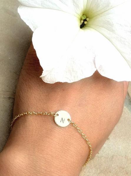 Gold Initial Bracelet,Initial Bracelet, Personalized Bracelet, Gold Bracelet,