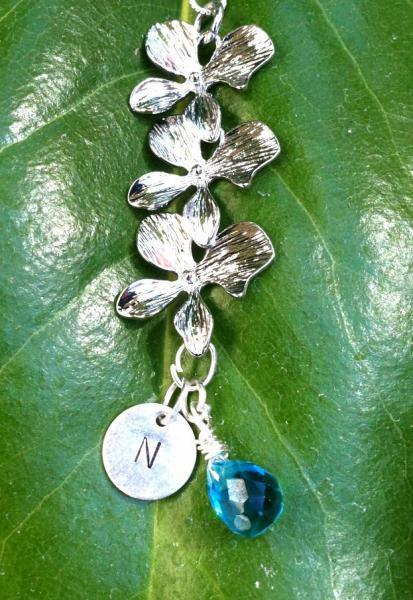 Orchid Necklace, Initial Necklace, Personalized Orchid Necklace, beach jewelry,