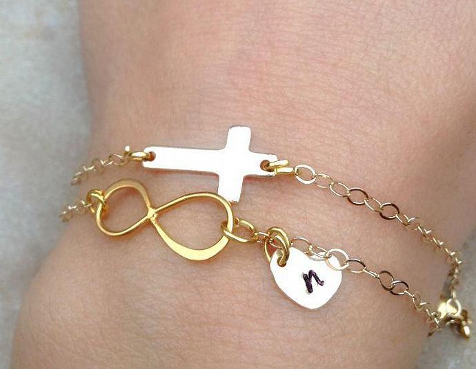 Gold Bracelet, Cross Bracelet, Infinity Bracelet, Gold Initial Bracelet, Bridal