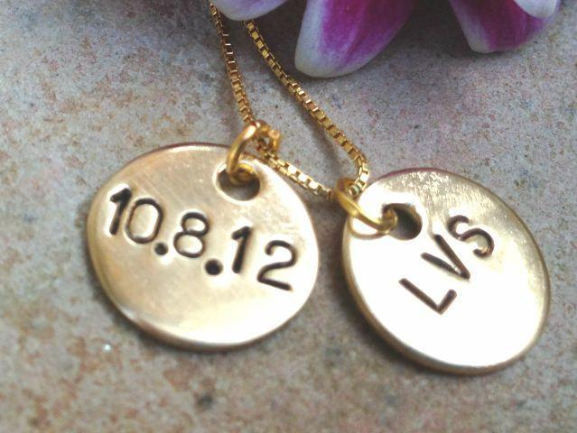 initial necklace, wedding date necklace, for the bride necklace, gold necklace,