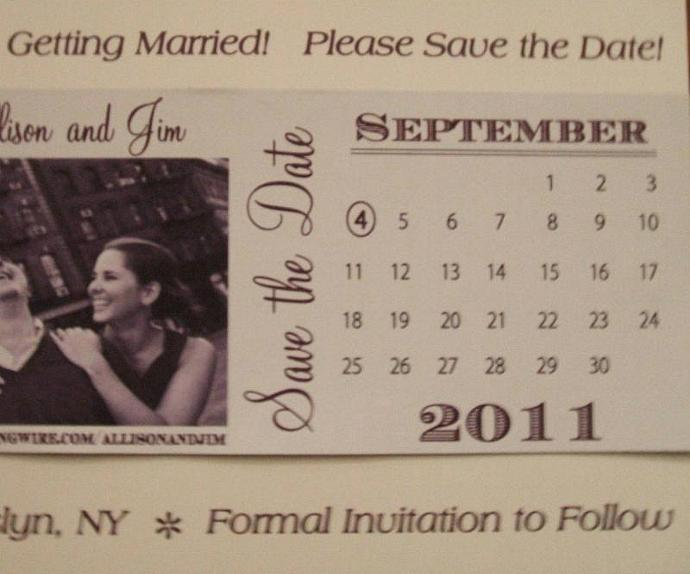 Custom 100 save the dates with image and calendar marked with your big day