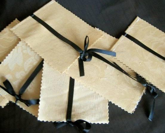 100 Beautiful fabric cover 4 page wedding programs, ribbon accent customized to