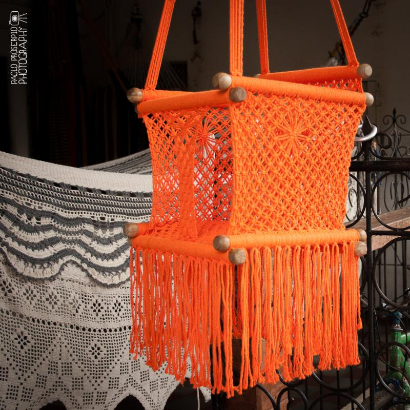Baby swing chair in macrame soft cotton hangahammock for Macrame hammock chair pattern