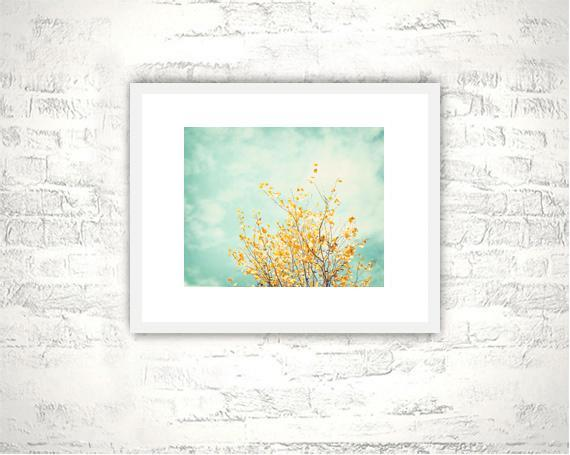 Nature Photography - 8x10 Mint Yellow Print - Teal Blue Turquoise Botanical Wall
