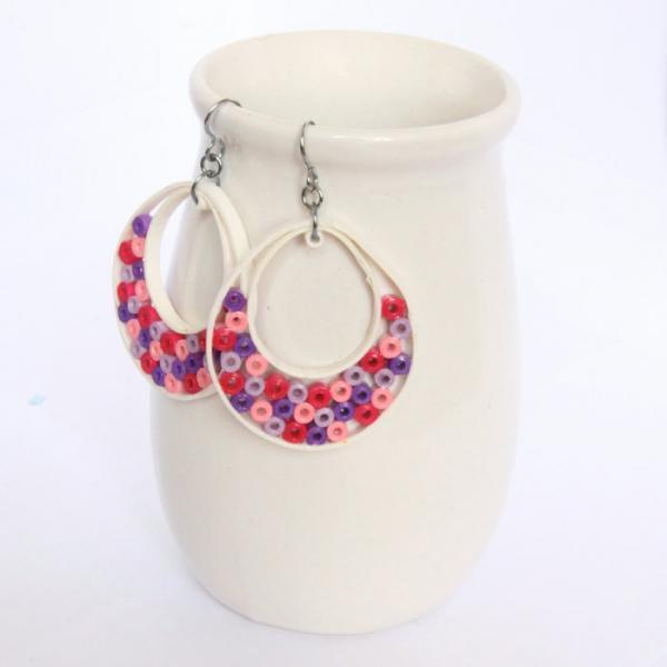 Big Hoop Earrings Niobium Earring Hooks Pink Purple and White Paper Quilled Eco
