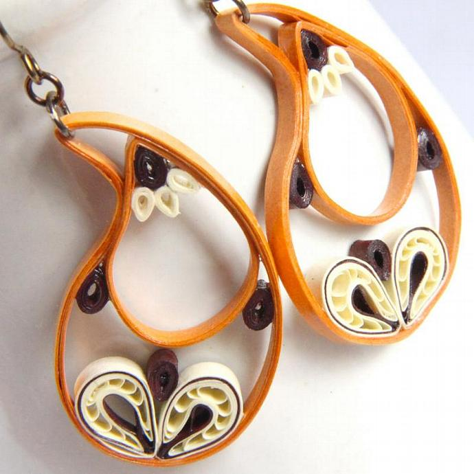 Paisley Indian Earrings in Golden Orange, Ivory, and Brown with Niobium Earring