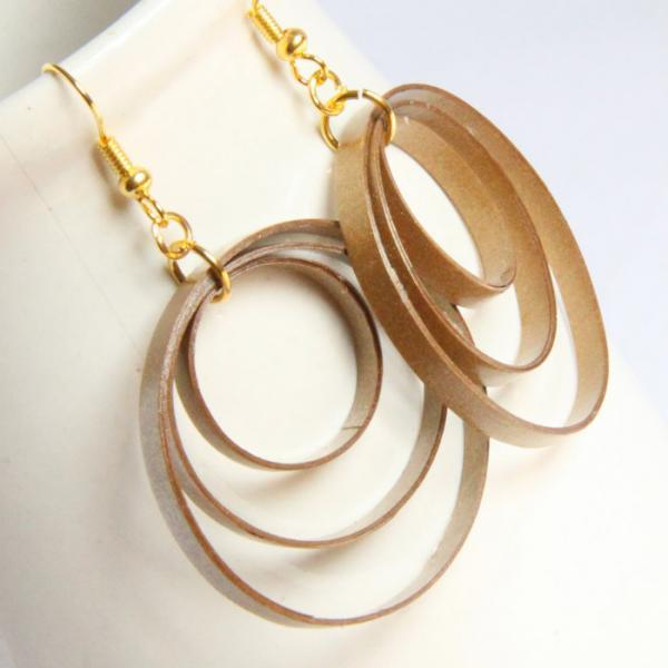 Big Gold Circle Earrings Three Hoops Paper Jewelry Eco Friendly Jewelry, Artisan