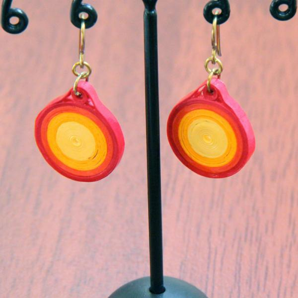 Neon Eco Friendly Earrings Fire Circle with Niobium Earring Hooks Paper Quilling