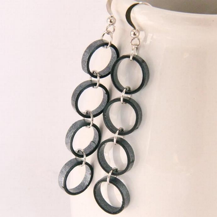 Metallic Black Chain Earrings with paper quilled beads Eco Friendly Jewelry,