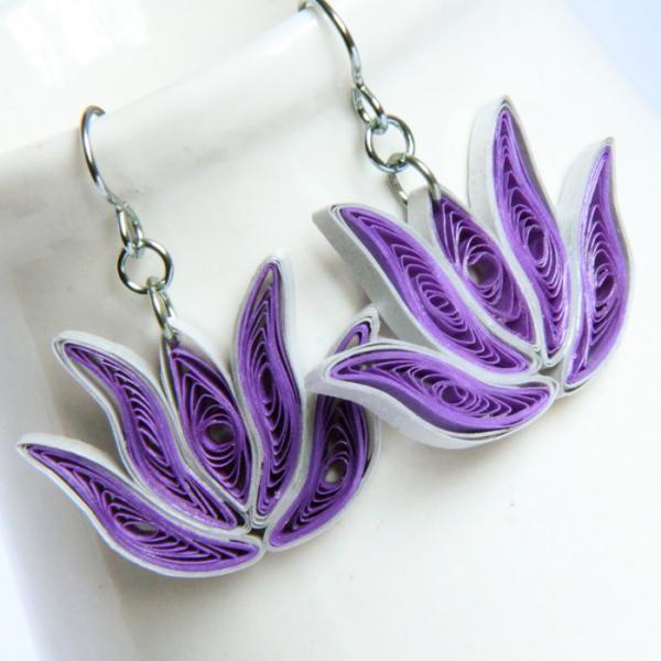 Bridesmaid Gift Lotus Earrings 3 Pairs Purple and Silver Handmade with Niobium