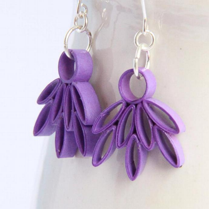 Eco Friendly Earrings Purple Lotus Handmade by Paper Quilling Artisan Jewelry