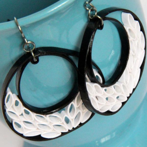 Black and White Crescent Earrings with Niobium Earring Hooks Unique Handmade