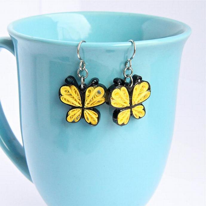 Eco Fashion Earrings Little Yellow Butterfly Niobium Hooks Handmade by Paper